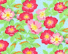 eQuilter New Beginnings - Wild Roses - Sky Blue