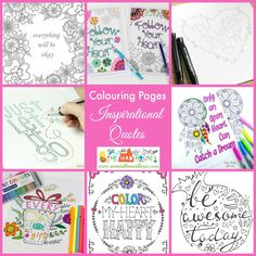 Download a set of free printable inspirational quotes adult coloring pages. You can also download a free printable 2016 calendar to color.