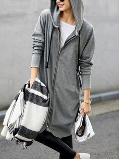 Shop Grey Hooded With Zipper Sweatshirt online. SheIn offers Grey Hooded With Zipper Sweatshirt & more to fit your fashionable needs.