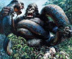 King Kong by John Berkey - sci-fi art Godzilla, Raise The Titanic, King Kong Skull Island, John Berkey, Giant Snake, 70s Sci Fi Art, Classic Monsters, Monster Art, Computer