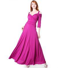 d3d493bc2b4 Evanese Women s Elegant Slip On Long Formal Evening Dress with 3 4 ...