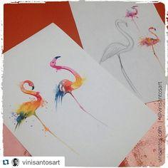 Follow/siga @skavinsk  Arte by @vinisantosart  #watercolortattoo  #vinisantosart #flamingo #flamingotattoo #brztattooers #tatuadoresbrasileiros #tattoaria #watercolortattoos #tatuagemaquarela #tattoodesign by drawingfortattoo
