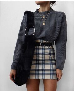 Back to School Outfits, niedliche Outfits, Schuloutfits, Herbstoutfits, Pullover - Outfit-Ideen - Damenmode Plaid Outfits, Casual Fall Outfits, Trendy Outfits, Hipster Outfits, Hipster Clothing, Autumn Casual, Autumn Outfits, Fashionable Outfits, Casual Dress For Fall