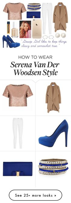 """""""Serena Van Der Woodsen in Nude, Blue, and Rose Gold"""" by sindhu-inala on Polyvore featuring Qupid, Glamorous, J Brand, Kate Spade, Forever 21, R.J. Graziano, Harris Wharf London, Essie, Salvatore Ferragamo and Burt's Bees"""