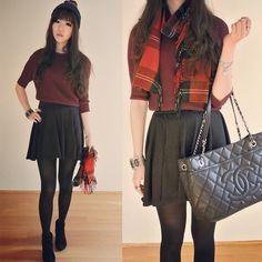leather jacket, white shirt, black skirt, black tights, platform ...