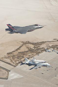 F-35 Spots The Shuttle