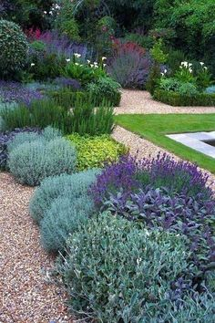 Beautiful backyard flower garden and landscaping design.