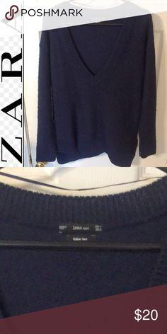 Zara Blue Sweater Perfect condition blue sweater Zara Sweaters V-Necks