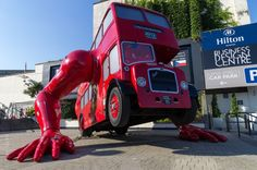 london booster red routemaster czech house angel - bus with arms in islington
