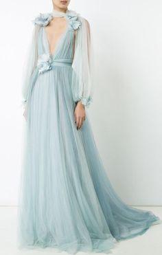 Shop Marchesa Billowing Floral Detail Gown at Modalist Prom Dresses Long Modest, Blue Evening Dresses, Long Evening Gowns, Evening Outfits, Style Couture, Couture Mode, Haute Couture Dresses, Couture Fashion, Floral Lace Dress