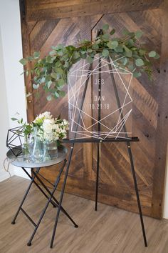 We love the design of this geometric acrylic welcome sign! | Wedding Sign | Wedding Welcome Sign | Acrylic Wedding Decor | Welcome Table Ideas | Eucalyptus | Wedding Ideas | Ceremony Sign | Modern Wedding Decor | Geometric Wedding Decor | #weddingsigns #welcomesign