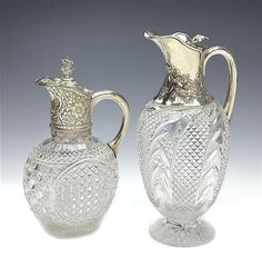 A VICTORIAN SILVER MOUNTED AND CUT GLASS CLARET JUG, EDGAR FINLEY AND HUGH TAYLOR, LONDON 1888