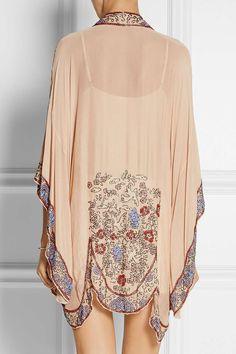 Blush crinkled silk-chiffon Slips on silk Dry clean Look Kimono, Kimono Jacket, Chiffon Kimono, Silk Chiffon, Hijab Fashion, Boho Fashion, Mode Top, Anna Sui, Passion For Fashion