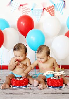 thing  1 thing 2 smash cake 1st Birthday photo session ...