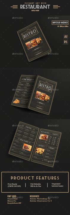 Elegant Bifold Restaurant Menu Template PSD, AI #design Download: http://graphicriver.net/item/elegant-bifold-restaurant-menu/13786387?ref=ksioks