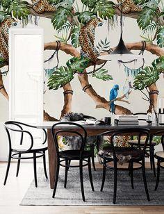 Verwisselbare behang  tropische Cheetahs Wallpaper  bloemen