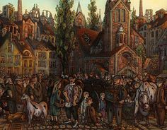 """Jarmark na Kościelnej"",""Fair on the Kościelna street"" oil painting on glass #oilpainting #fair #silesia"
