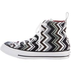 Pre-owned Missoni x Converse Chevron High-Top Sneakers ($75) ❤ liked on Polyvore featuring shoes, sneakers, black, black high-top sneakers, black shoes, colorful sneakers, black trainers and black laced shoes