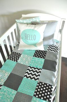 Baby Boy Crib Quilt in Geo Minty I Color inspiration. No pattern or tutorial.
