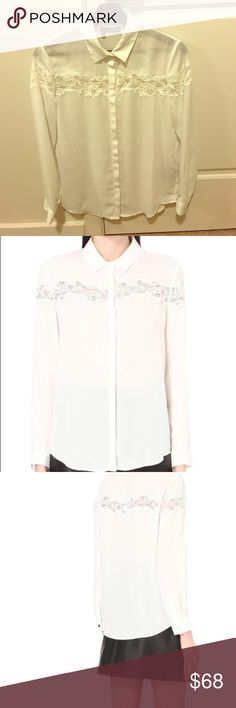 Kooples white lace collared shirt Kooples white lace collared shirt with really pretty embroidery, only have worn this once for a business event, selling because I bought the same one in a different color The Kooples Tops Button Down Shirts