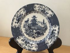 Blue Willow like 8 in decorative plate (Chinese)