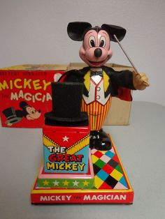Linemar Mickey the Magician  Battery op toy from 50s/ebay