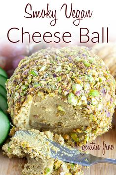 Smoky Vegan Cheese Ball (gluten free) - This easy cashew cheese ball is sliceable, but softens to a creamy texture when you let it sit out. #vegancheeseball #vegancheese