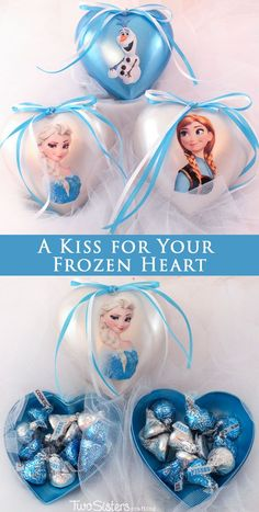 Our easy to make A Kiss for Your Frozen Heart candy boxes have so many uses - an adorable Valentine's Day craft or gift for your favorite Frozen Fan.  Or how about Frozen Birthday Party Favor?  Or even a Frozen Christmas Tree Ornament. For more Frozen Party Ideas, follow us at http://www.pinterest.com/2SistersCraft/