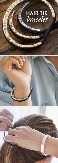 Carry a hair elastic on your wrist in an elegant (and indent-free) way. Slip the bracelet on, slip your elastic over, and it blends right in.
