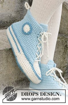 Crocheted slippers for Easter in DROPS Nepal. Size 35 - Free instructions from DROPS Design. Crocheted slippers for Easter in DROPS Nepal. Size 35 - Free instructions from DROPS Design. Booties Crochet, Crochet Converse, Crochet Slippers, Knitting Patterns Free, Free Knitting, Crochet Patterns, Free Pattern, Crochet Ideas, Crochet Gifts
