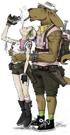 Tank Girl and Booga, by Jamie Hewlett. Comic Book Characters, Comic Books Art, Comic Art, Nail Bat, Cyberpunk, Tank Girl Comic, Jamie Hewlett Art, Jet Girl, Arte Steampunk