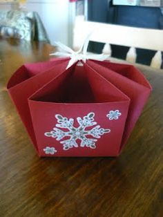 """A quick basket made from a 12"""" x 12"""" piece of cardstock."""