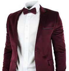 Mens Velvet Slim Fit Maroon Wine Burgandy 3 Piece Suit Wedding Party Black Trim