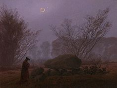 Caspar David Friedrich (German, 1774-1840):  A Walk at Dusk, about 1830-35, oil on canvas, 13 1/8 x 17 3/16 in.