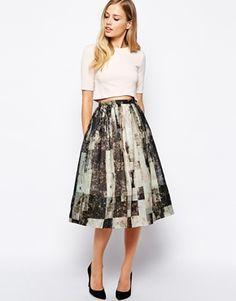 Whistles Olivia Skirt in Rock Print   Modern art in a skirt