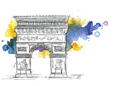 Arc de Triomphe Illustration print by JessicaIllustration on Etsy, $25.00