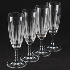 4 Vintage Sektgläser Linien Strahlen Schliff Gravur 60er Jahre 60s Gläser K61