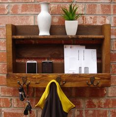 Rustic Entryway 3 Hanger Hook Coat Rack with Shelf and by KeoDecor, $85.00