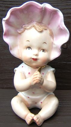 Vintage PIANO BABY with BONNET FINE A QUALITY Ceramic Figurine GOLD Japan 1950s http://www.bonanza.com/listings/103242633