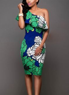 This sexy party dress feature a multi print, one shoulder off neckline ,flutter layer design sleeveless , pencil style midi dress.