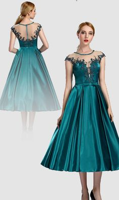 Peacock blue cap sleeves lace vintage dress party dress