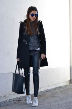 Street Style February, 2015: The featured photo is of Consuelo Palomawearing a coat and sweater Mango, striped shirt from Zara, leather trousers and bag from H&M and the sneakers are from Converse Pavlina Jagrovais wearing aburgundy fluffy coat from H&M, Topshop skinny jeans and black Zara boots Just The Design:Tiphaine is wearing a pair of …