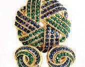 Crown Trifari Cavalcade Sapphire and Emerald Rhinestone Necklace and Earring Demi