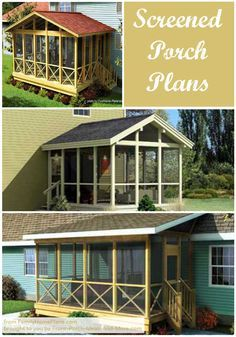 Thinking of building a screened porch? Begin with a good plan! Here are several options that many of our readers have found helpful: http://www.front-porch-ideas-and-more.com/screened-in-porch-plans.html #screenedporchplans