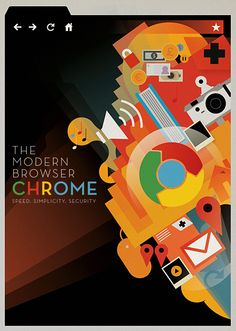 To commemorate the second birthday of their browser Chrome, Google commissioned me to create a poster to celebrate the modern browser.  mike lemanski
