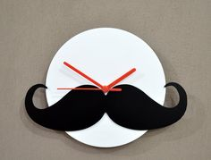 Hipster Moustache - Black  White Silhouette - Wall Clock