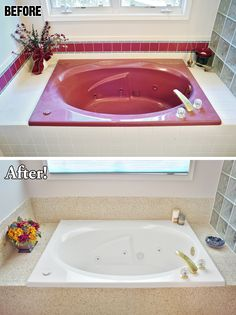 If your master bathroom is stuck in another era, perhaps a new look is just what you and your special someone need for a spark of romance. A little search on the Internet turns up Miracle Method Surface Refinishing, and you're ecstatic to learn they can turn that ugly tub to gleaming white and the geometric tile surround to a stone-look finish in about two days! A tub refinished by Miracle Method will feel and look like new. The tile grout lines will be repaired and permanently sealed…