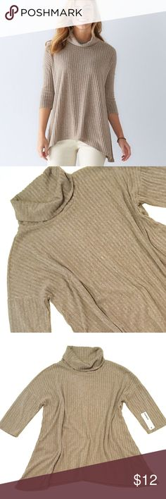 SONOMA Turtleneck Sweater XL Shark-Bite Hem NWT BRAND NEW WITH TAG:   Cozy comfort is yours when you slip on this women's SONOMA Goods for Life turtleneck sweater.  MSRP. $40  PRODUCT FEATURES Ribbed design  Shark-bite hem  Turtleneck  3/4-length sleeves   Fabric & Care  67% Polyester, 29% rayon, 4% spandex  Machine wash  Please refer to picture for actual measurements Sonoma Sweaters Cowl & Turtlenecks