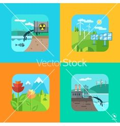 Urban and village landscape ecology environment vector  by Krolone on VectorStock®