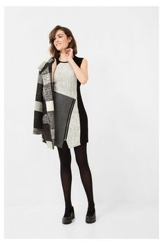 Black and gray pinafore dress with zipper Desigual. Add wide black pants to make this formal